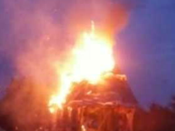 2 temple chariots catch fire in Vellore