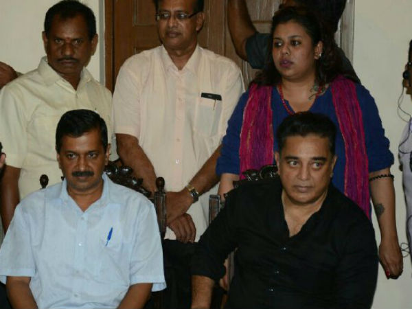Arvind Kejriwal and Kamal hassan travels in the same car