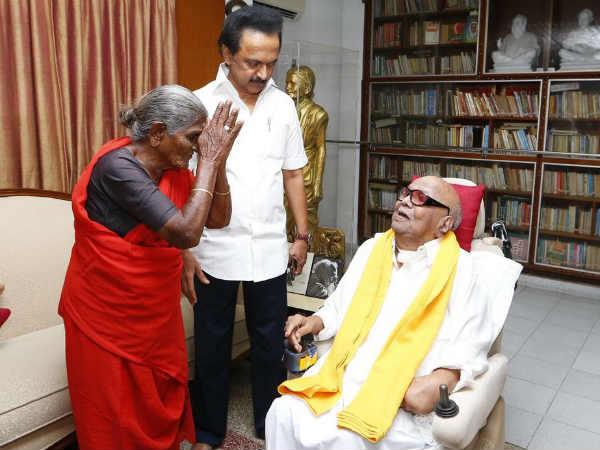 100 ஆண்டுகளுக்கும் மேலாக வாழனும் தங்கமே- கருணாநிதியை வாழ்த்திய மூத்த தொண்டர் 'பாப்பாத்தி'