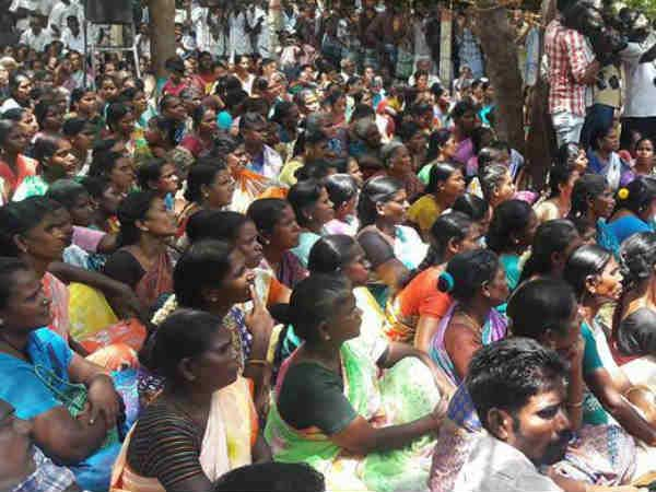 People protested against ONGC at Kadambangudi in Tiruvarur district