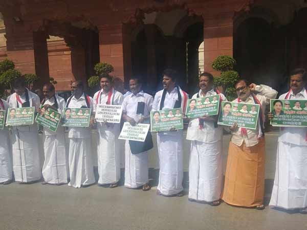 ADMK MPs protest in Parliment campus demanding Cauvery