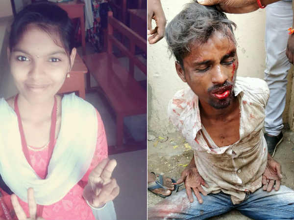 Chennai people thrash killer of a collage girl Ashwini