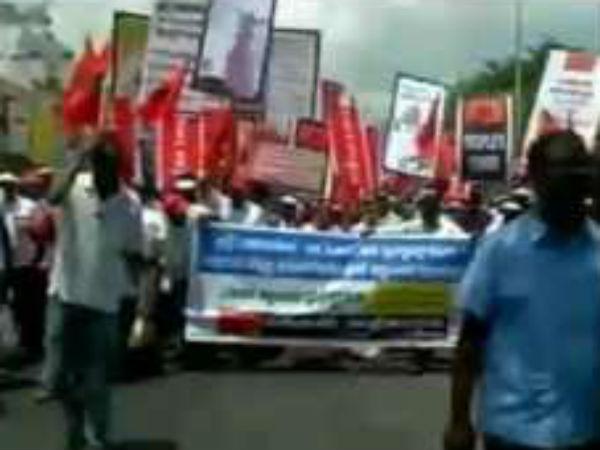 திருச்சி: காவிரி மேலாண்மை வாரியம் கோரி போராடிய மக்கள் அதிகாரம் அமைப்பினர் குண்டுகட்டாக கைது