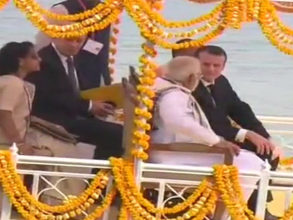Prime Minister Modi and France president Emmanuel Macron Boating in Varansi