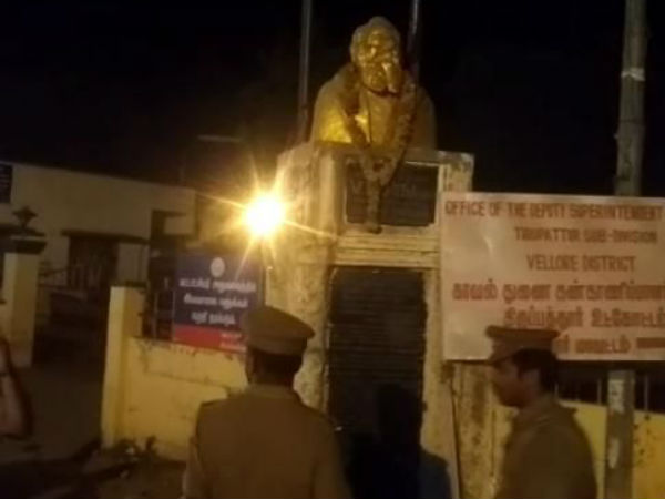 Periyar statue damaged at Tirupattur