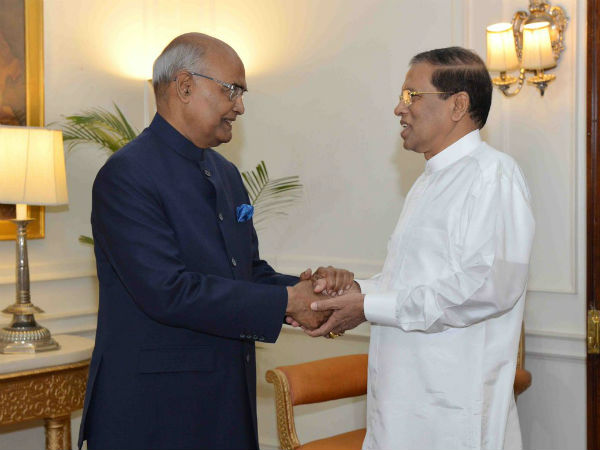 Sri Lanka President Maithripala Sirisena called on Indian President Ramnath Kovind