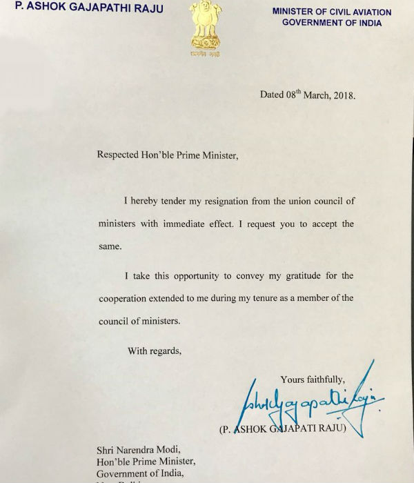 Telugu Desam ministers resigned from the Union Cabinet