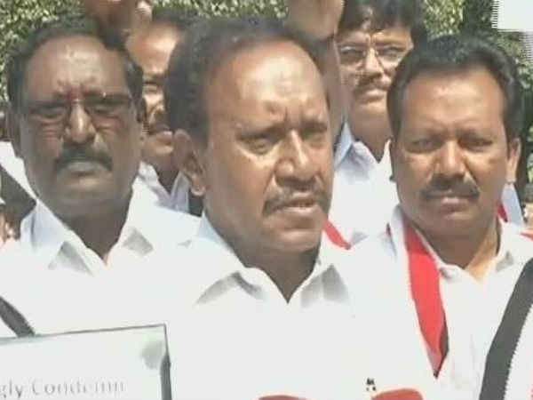 AIADMK Members protest against vandalism incidents