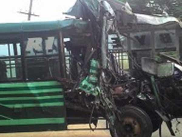 Two killed truck collide on government bus near Vadipatti