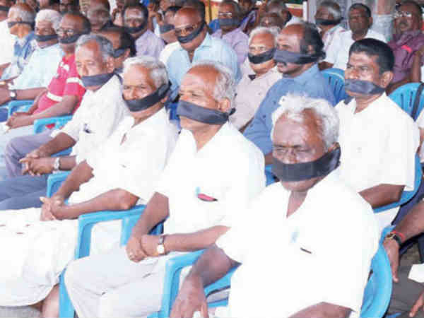 Farmers protest for demanding relief near Dindigul