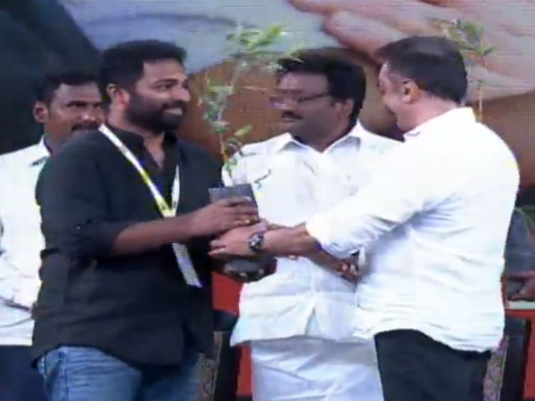 Kamal presents trees to the people who joined in Makkal Needhi Maiam