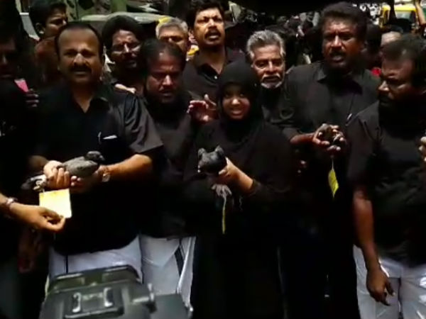 DMK protest in Coimbatore by make flying pigeons