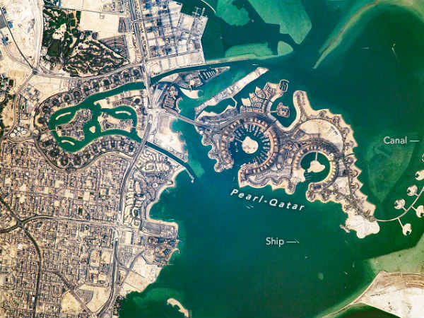 International Space Station took this long lens photograph of part of Doha, pearl qatar man made island