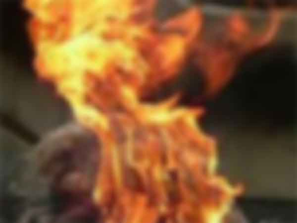A woman police tried to take fire bath in Theni collector office