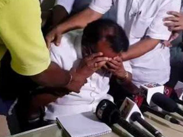 Ktaka BJP leader in tears during press conference for not announced as candidate