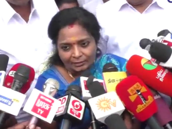 Tamilnadu BJP president Tamilisai facing black flag protest