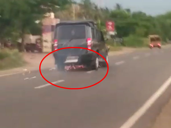 A car which did accident and also drag the two wheeler in Salem