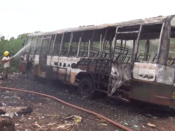 Government bus fires in the Nellai