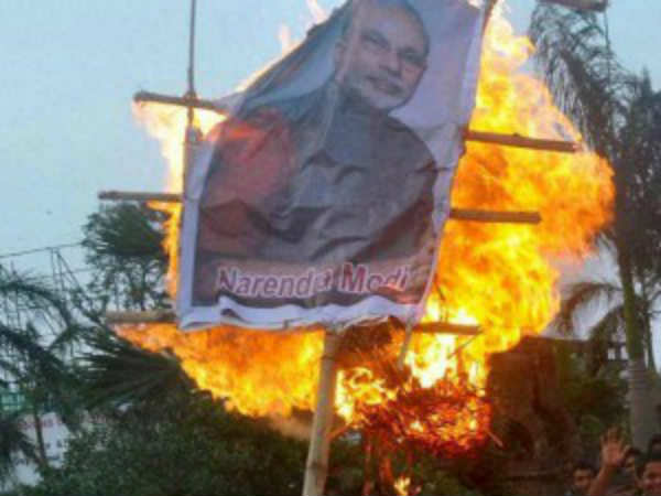 Indian Democratic Youth Association burnt PM Modis Effigy in salem