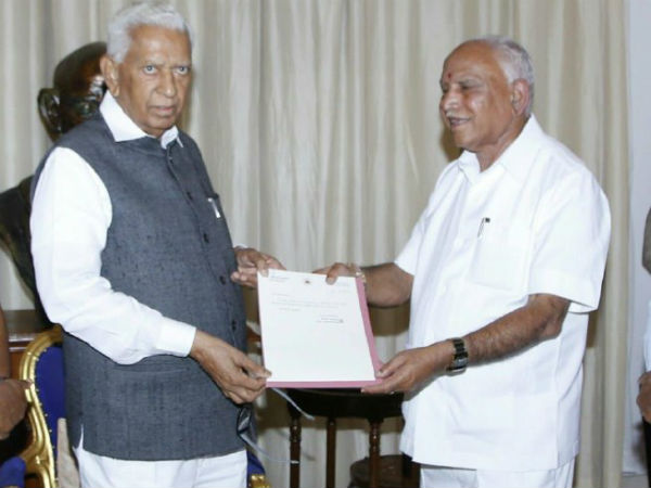 yeddyurappa met governor and resigned