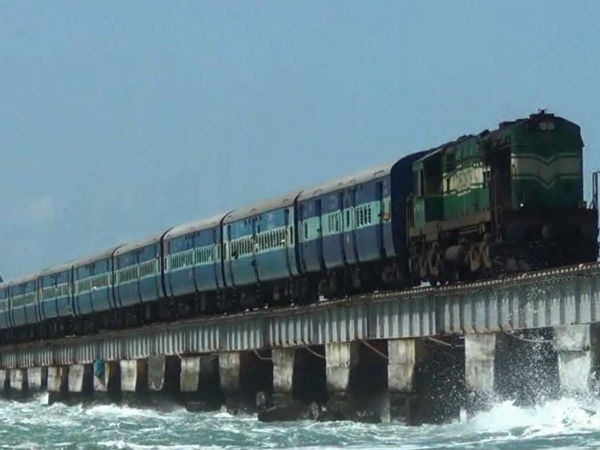 Chennai and Madurai trains have been halted in Pamban after a heavy wind