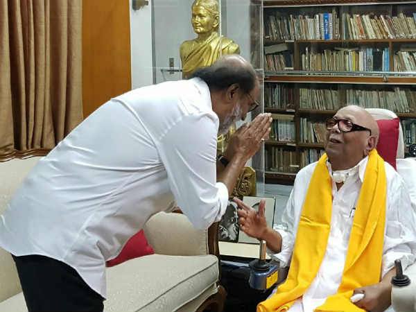 Actor Rajinikanth congratulates DMK leader Karunanidhi