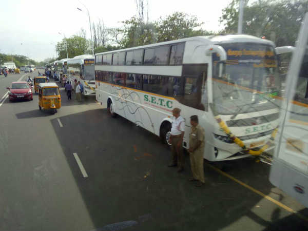 Hundreds of buses on the Beach Road