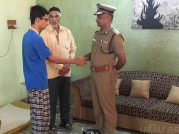Chennai Commissioner met with college student who got beaten by a police