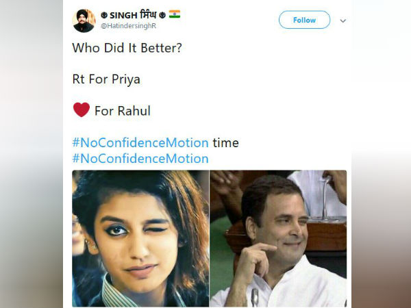 Netisans compare pictures of Rahul Gandhi and Priya Warrior