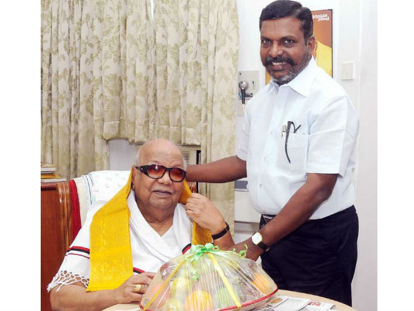 Thirumavalaan insisted Indian government should give Barata Ratna award to Karunanidhi