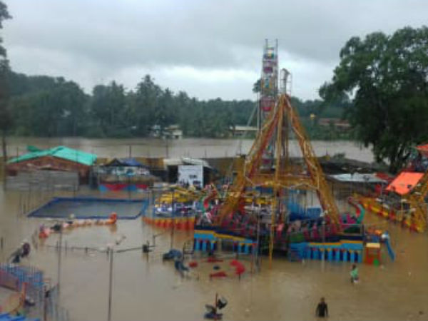 Flood water inflows into Government Exhibition in Kuzhithurai