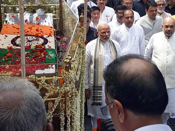 PM Modi and Amit Shah take part in the Atal Bihari Vajpayee final procession