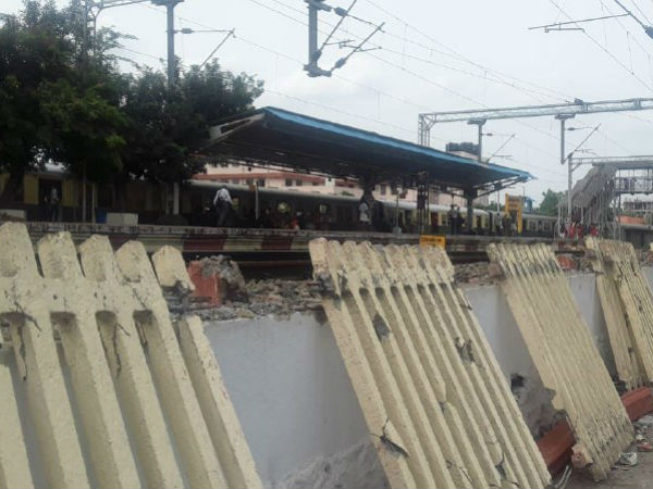 Wall in the Chennai St Thomas Mount Railway station demolished