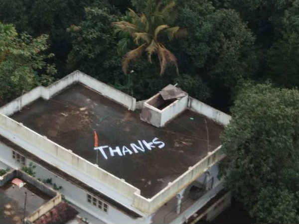 Kerala floods: Someone wrote a big Thanks on their rooftop in Kochi