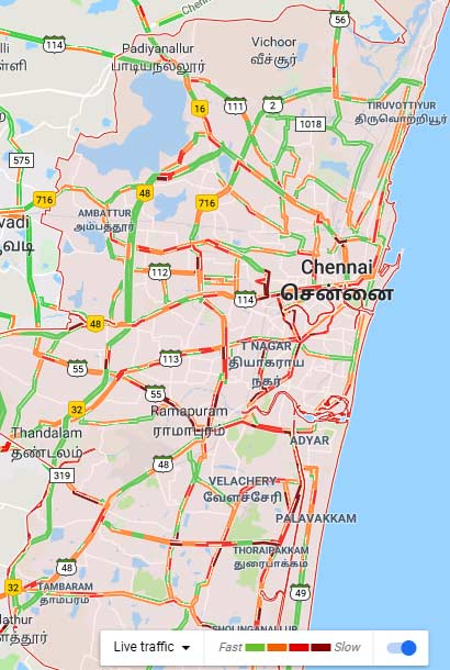 Worst Traffic hits in Chennai amidst Karunanidhi health gets a decline