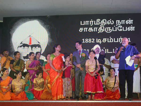 Who is Bharathiyar play conducted in Muscat
