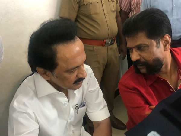 DMK Chief M K Stalin goes to hospital to meet Nakkheeran Gopal