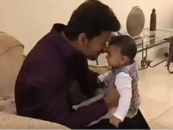 Vijay playing with a baby- a video goes viral