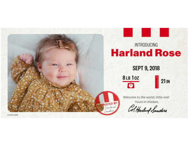 kfc pays couple for naming newborn girl after brands founder