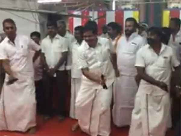 Minister S.P.Velumani dances with MLA Arukutty in Coimbatore
