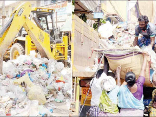 Trichy shopping streets were filled with 20 tonnes of garbages