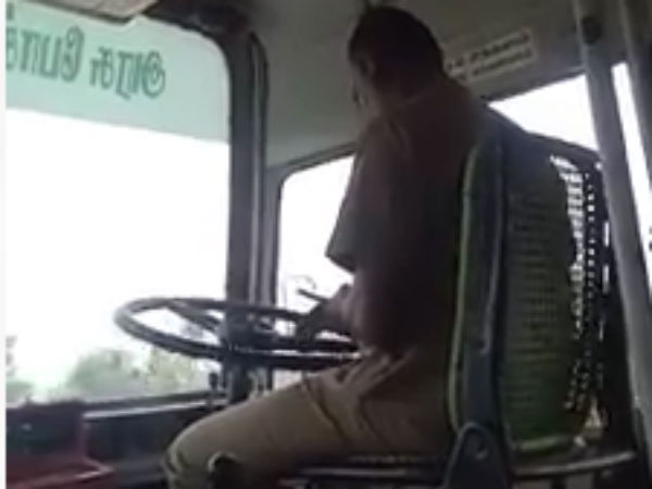 a government bus driver using cell phone while he driving in ramnad