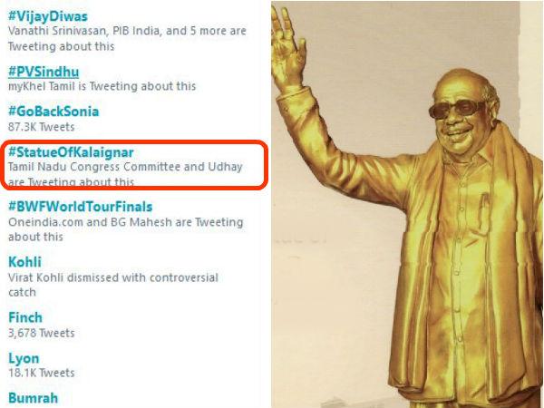 டிரெண்டிங்கில் கலக்கிய #StatueOfKalaingar.. கருணாநிதி சிலையை கொண்டாடிய நெட்டிசன்ஸ்!