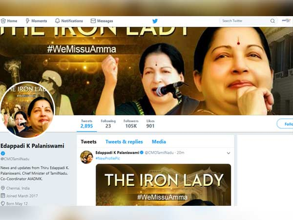 Tamilnadu CMs new DP of Twitter profile gets the limelight