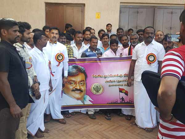 DMDK cadres celebrates pongal festival in dubai and they distributed pongal to everyone