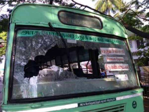 All India Bandh: Tamilnadu buses attacked in Puducherry