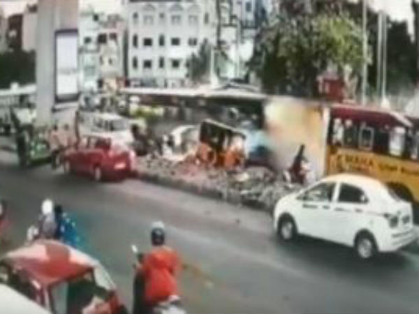 One died after a bus hit a car, an autorickshaw, a two wheeler in secunderabad, cctv released