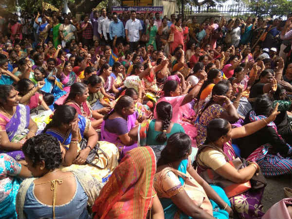 Jacto Geo protest issues teachers suspension cancelled by TN govt