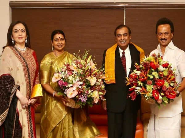 Mr Ambani invites DMK chief MK Stalin for his sons marriage event