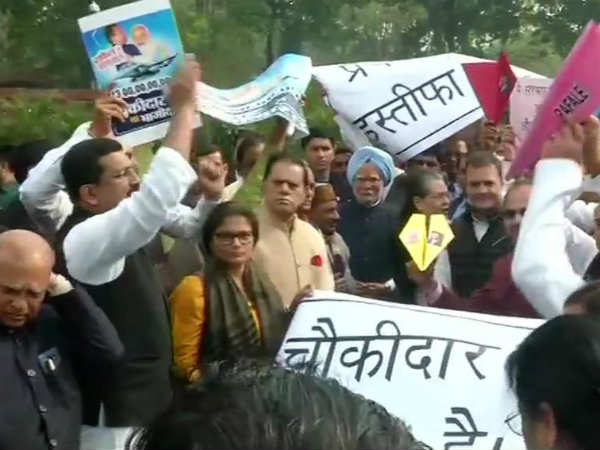 Rahul Gandhi protest against Rafale deal in Parliament